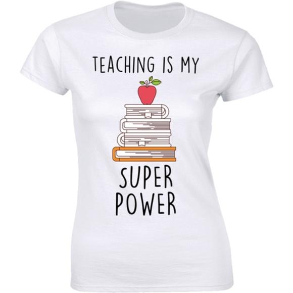 Half It Tops - Teaching Is My Super Power Many Books Tee T-shirt